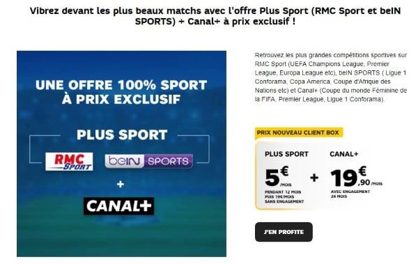 Box Internet : promo SFR avec Canal, RMC Sport et beIN SPORTS