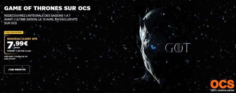 OCS en promotion en mars 2019 avec les box Internet SFR