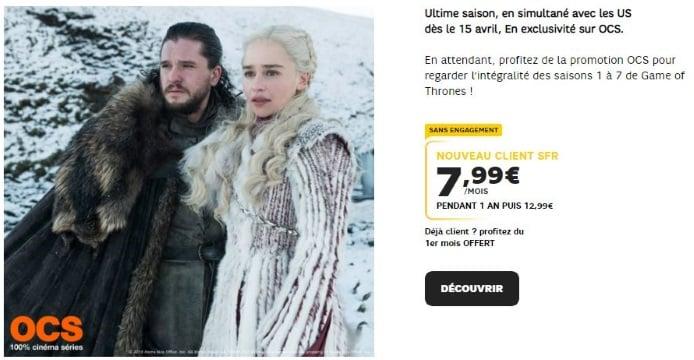 Pour regarder la saison 8 de Game of Thrones, OCS a prix réduit chez SFR