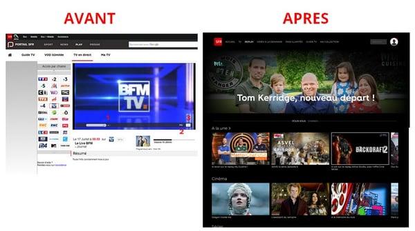 Refonte graphique du portail SFR TV