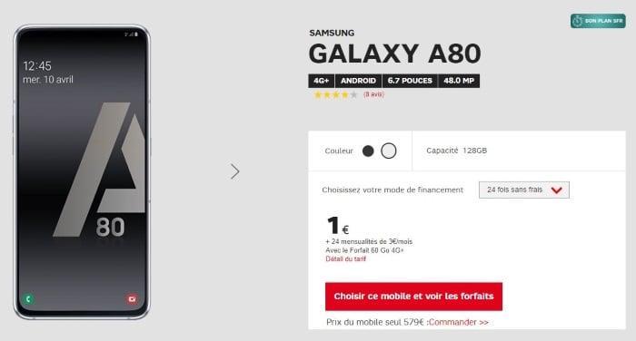 promo smartphone le samsung galaxy a80 pas cher avec un forfait sfr