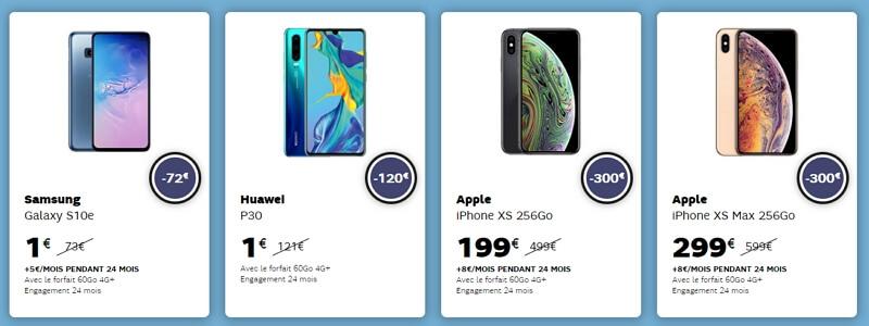 Téléphones en soldes chez sfr en janvier 2020 : iPhone XS, Samsung Galaxy S10, Huawei P30