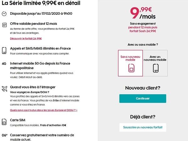 Le forfait 50 Go de Sosh est en promo à 9,99€/mois.