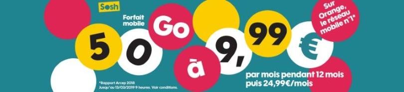 Forfait en promotion : Sosh 50 go