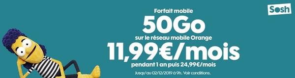 Un forfait 50 Go à 11,99€/mois chez Sosh, c'est jusqu'au 02 décembre
