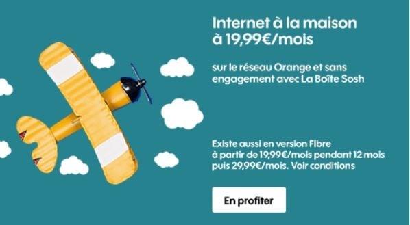 La Boîte Sosh : ADSL sans engagement sur le réseau Orange