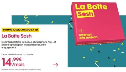 Internet sans engagement : offre Sosh en promotion