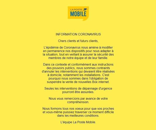La commercialisation des offrfes box La Poste Mobile est suspendue.