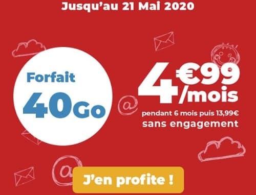 40 Go à seulement 4,99€/mois avec Auchan télécom
