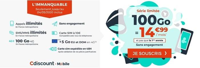 Le forfait  mobile 100 GO Immanquable de Cdiscount Mobile
