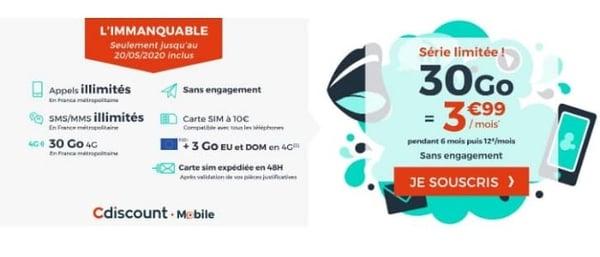 30 Go à seulement 3,99€/mois avec Cdiscount Mobile