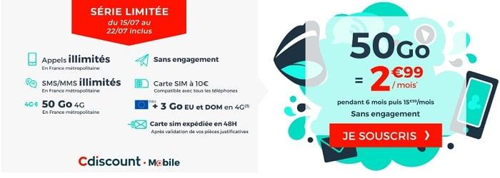 Le nouveau forfait en promo Cdiscount Mobile est à seulement 2,99€/mois pendant 6 mois.