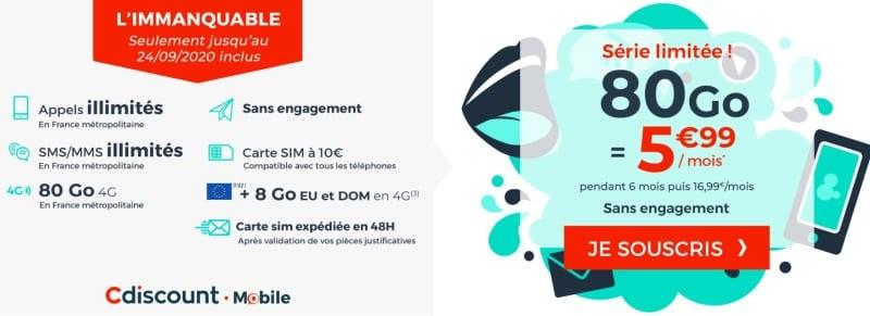 Les détails du forfait en promo 80 Go de Cdiscount Mobile