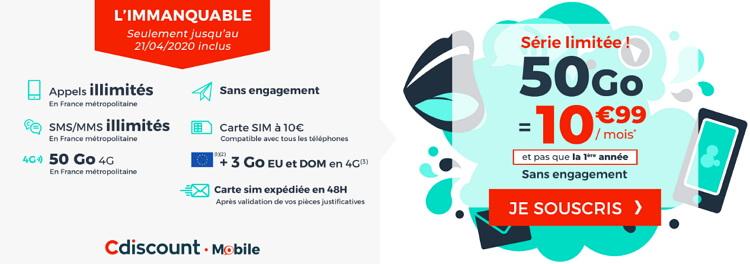 Forfait 50 Go en promo : les détails de l'offre spéciale Cdiscount Mobile