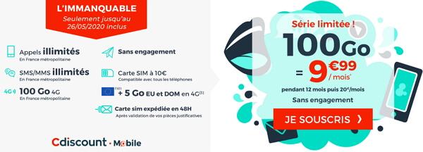 Le forfait 100 Go au meilleur prix en mai 2020 : Cdiscount Mobile à 9,99 euros par mois