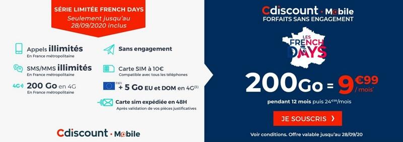 Promo French Days Cdiscount sur le forfait 200 Go