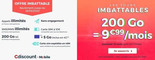 200 Go à seulement 9,99€/mois, c'est le forfait mobile imbattable de Cdiscount Mobile.