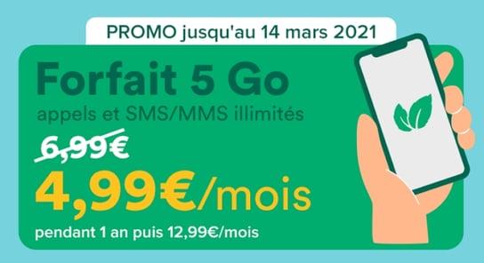 Détails du forfait en promo 5Go chez Mint Mobile
