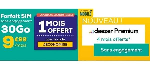 Deezer gratuit pendant quatre mois et le premier mois offert à le forfait SIM 30 Go La Poste Mobile