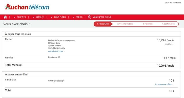 La souscription du forfait mobile Auchan 50 Go en détail