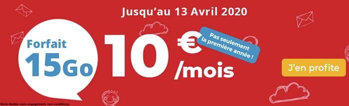 Détails et souscription du forfait mobile en promo Auchan en mars 2020 : 15 Go à 10 euros par mois