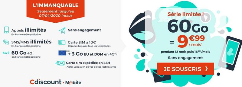 Les détails du forfait 60 Go à prix spécial chez Cdiscount Mobile en avril 2020