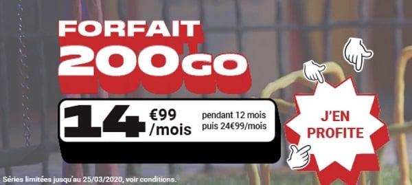 Un forfait 200 Go à moins de 15€/mois avec NRJ mobile