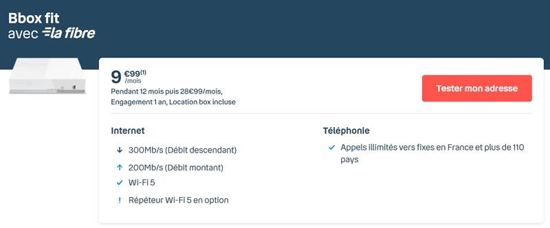 Détails de l'abonnement Internet Bouygues à 9,99 euros par mois