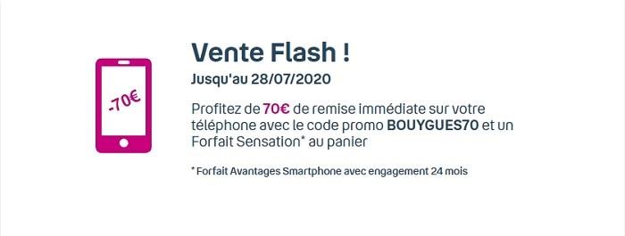 Vente flash Bouygues avec 70€ de réduction sur une sélection de smartphones