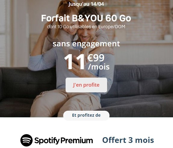La série limitée B&YOU 60 Go est de retour à 12€/mois