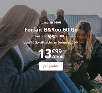 La série limitée B&YOU 60 Go est désormais à 13,99€/mois.