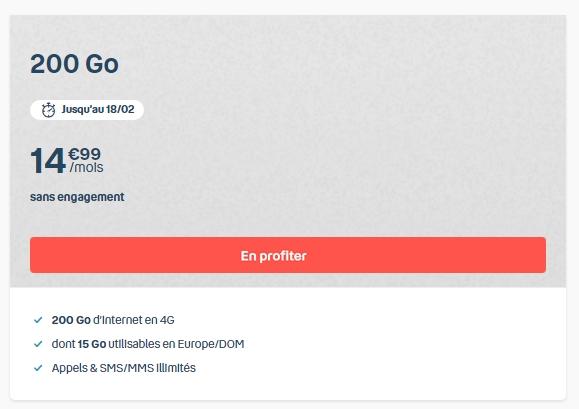 Forfait Bouygues en promo : détails de l'offre B&You 200 Go