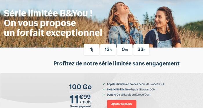 Détails du forfait 100 Go en promotion chez Bouygues Telecom à 11,99 euros par mois