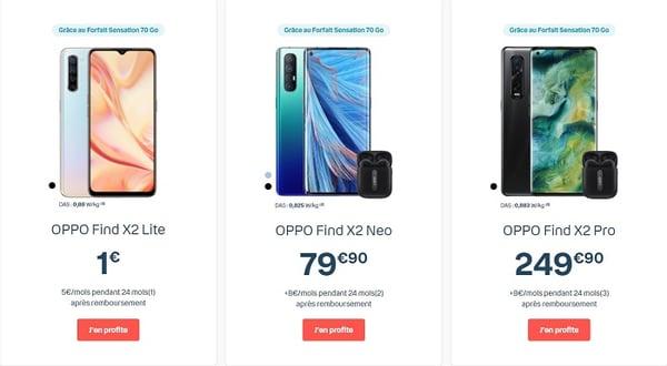 Le tout nouveau Oppo Find X2 à seulement 1€ avec un forfait Bouygues Sensation Avantages smartphones pendant les French Days