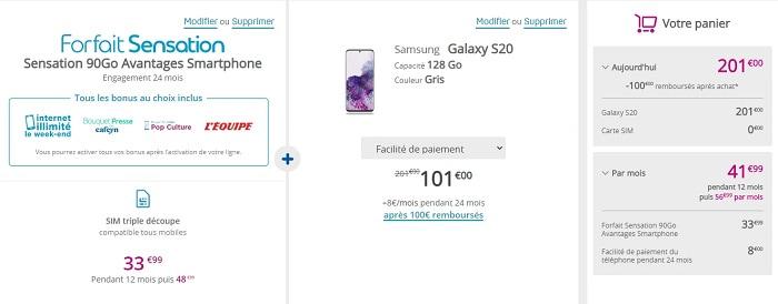 100€ remboursés sur l'achat d'un Samsung Galaxy S20 pour toute souscription d'un forfait Sensation