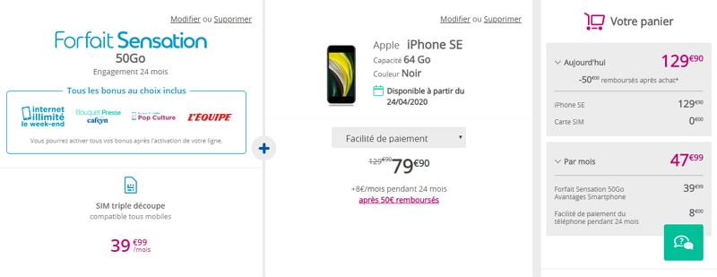 Prix de l'Iphone SE chez Bouygues avec un forfait Sensation 50 Go