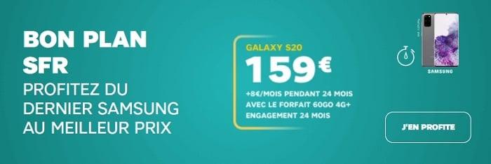 Le Samsung Galaxy à 159€ avec un forfait 60 Go SFR
