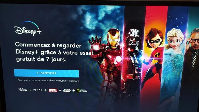 Dinsey+ : écran d'accueil sur Smart TV Samsung