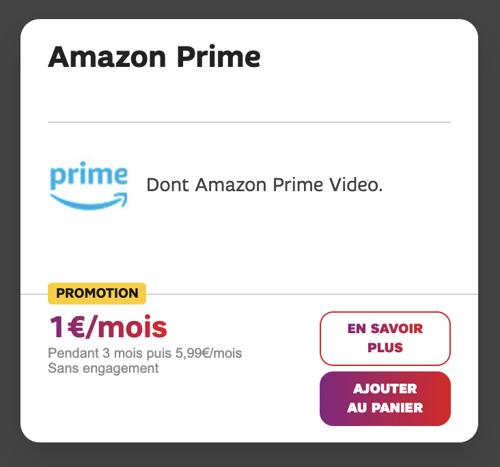 Amazon Prime Video en promo à 1€/mois pendant trois mois avec une box internet SFR