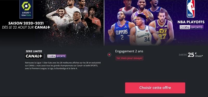 La série limitée canal+ bein sports à 25 euros par mois
