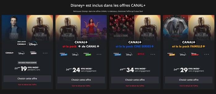 Les offres Canal qui intègrent Disney+