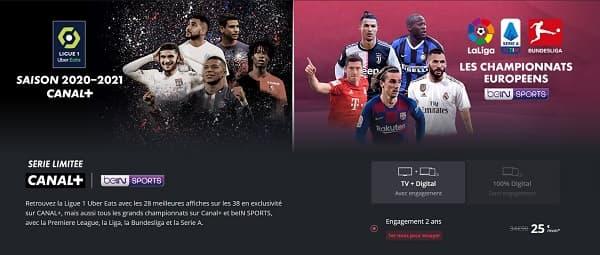 Avec la série limitée Canal+ avec beIN Sports, vous avez accès à 20% de la Ligue 1 et à certains des championnats étrangers