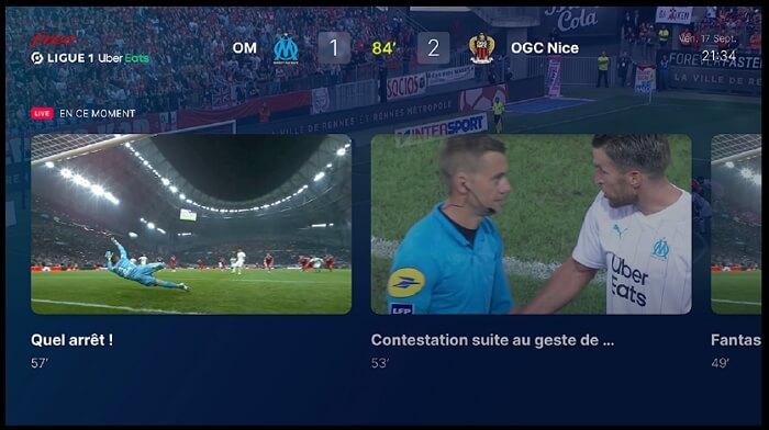 Free Ligue 1 sur Freebox : interface