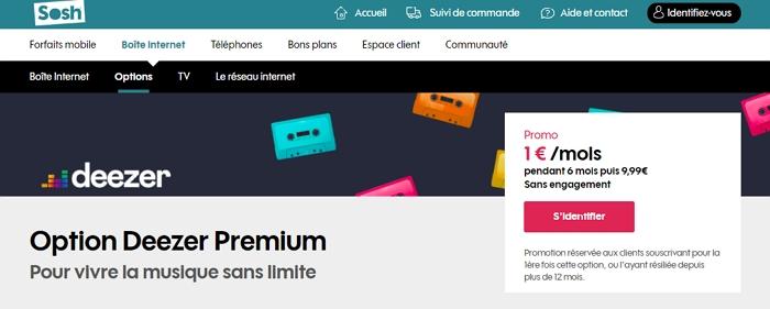 Vente Flash Deezer Premium chez Sosh : 1€/mois pendant six mois