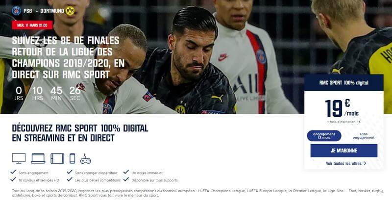 Image d'un match du Paris-Saint-Germain et visuel de souscription à RMC Sport