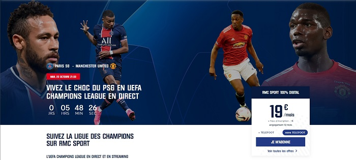 L'abonnement à RMC sport est à 19€/mois pendant six mois, indispensable pour regarder le match PSG-Manchester United