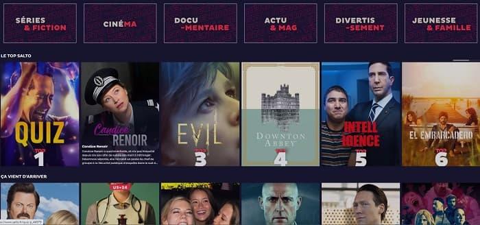 La page d'accueil de Salto est inspirée de Netflix, elle est claire et lisible