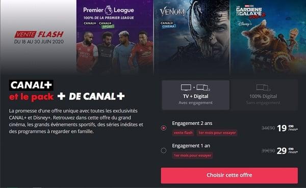 L'offre Canal+ avec le pack + de Canal+ est en vente flash à seulement 19,90€/mois.