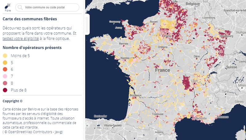 Carte de la fibre en France