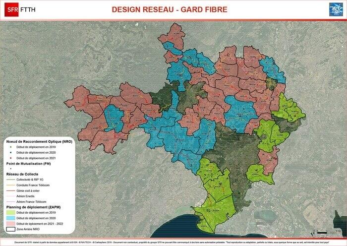 Carte du déploiement de la fibre dans le Gard